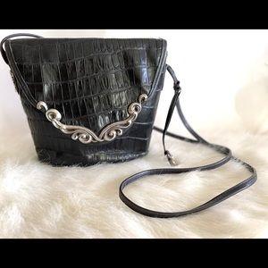 Vintage Brighton Black Leather Crossbody w/ Silver